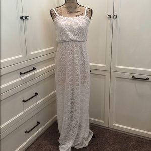 Bailey Blue Cream/White Lace/Mesh Maxi Dress Small